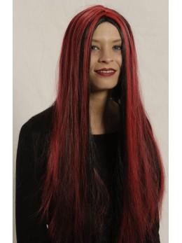 Perruque mèchée noire et rouge