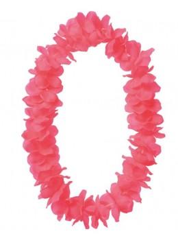 Collier hawai grosses fleurs rose