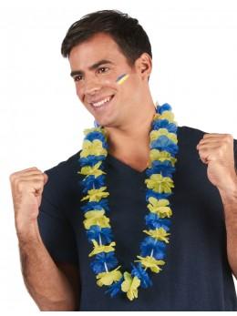 Collier hawaien bleu et jaune