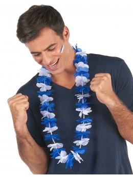 Collier hawaien bleu et blanc