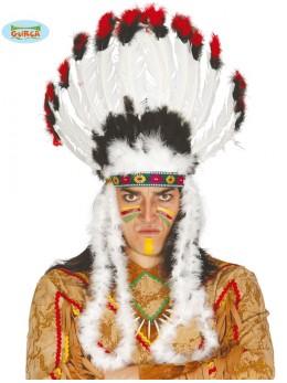 Coiffe chef indien noire blanc rouge