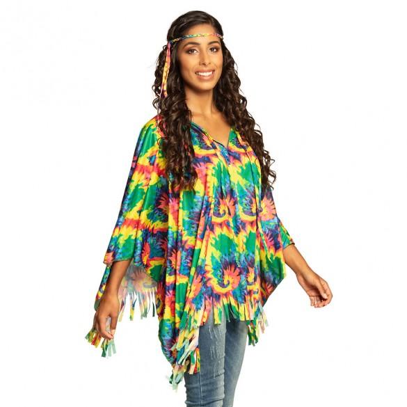 Déguisement poncho hippie avec bandeau