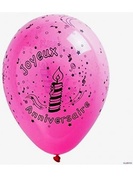 10 Ballons anniversaires fuchsia 30cm