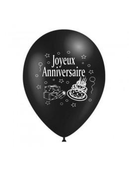 10 Ballons anniversaires noir