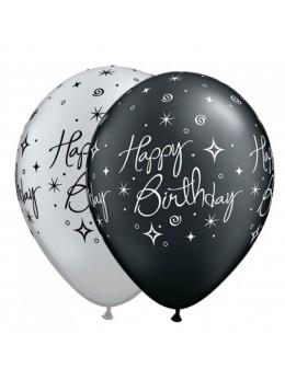 6 Ballons luxe Happy birthday noir et argent