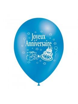 10 Ballons anniversaires turquoise 30cm