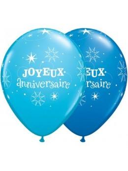 6 Ballons Joyeux Anniversaires bleu 30cm