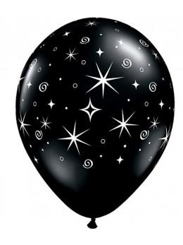 6 Ballons Sparkle noir 30cm