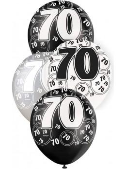 6 ballons 70 ans métallisés