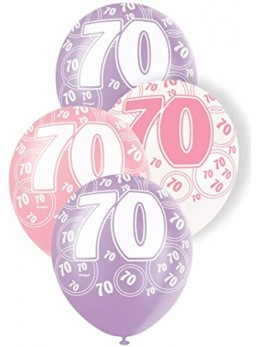 6 ballons 70 ans girly