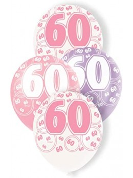 6 ballons 60 ans girly