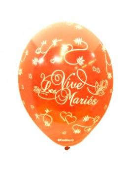 8 Ballons vive les mariés tout autour orange