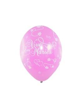 8 Ballons vive les mariés tout autour lilas
