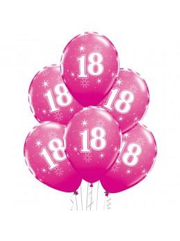 6 Ballons 18 ans fuchsia