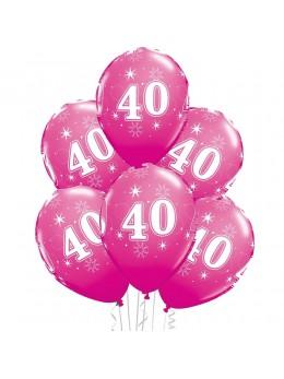 6 Ballons 40 ans fuchsia