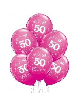 6 Ballons 50 ans fuchsia