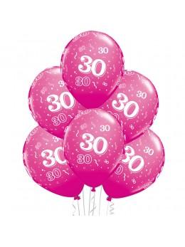 6 Ballons 30 ans fuchsia