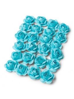 24 Roses bleu pastel 1,3cm