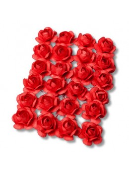 24 Roses rouge corail 1,3cm