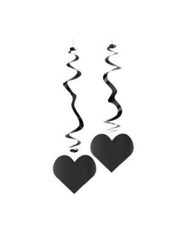 6 Suspensions coeur noir ignifugé 80cm
