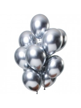 12 Ballons premium shine silver