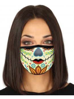 Masque tissu dia de los muertos