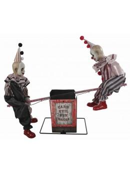 Déco 2 Clowns animés sonore sur balançoire