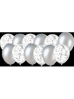 12 Ballons argent et confetti argent