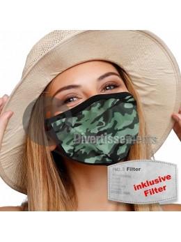 Masque tissu camouflage avec filtre