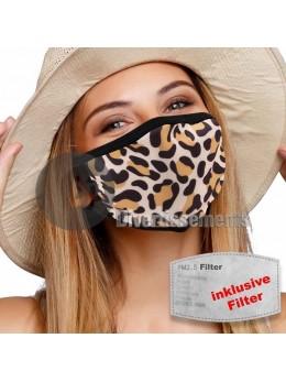 Masque tissu léopard avec filtre
