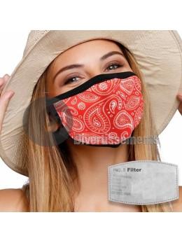 Masque tissu bandana rouge avec filtre