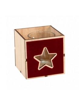 Bougeoir Noël cube velours rouge