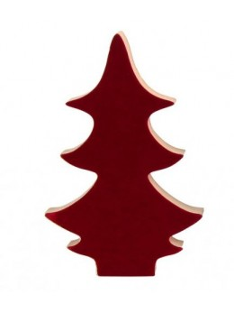 Déco de table noël sapin velours rouge 15cm