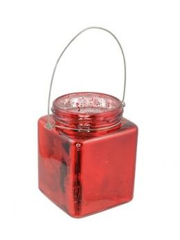Photophore verre carré rouge avec anse 10cm
