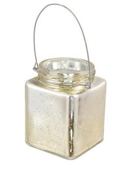 Photophore verre carré or avec anse 10cm