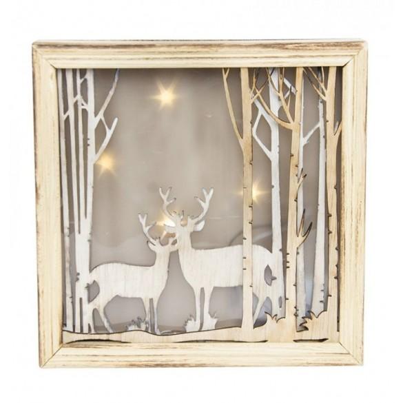 Tableau lumineux Noël cerfs avec led