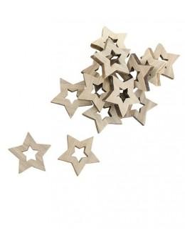 Sachet 12 confetti étoiles bois 3cm
