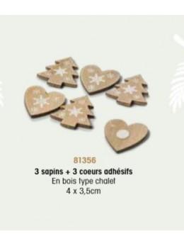 6 Confetti bois montagne 4cm