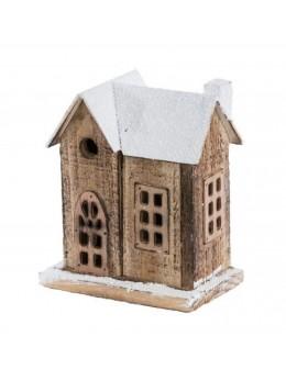 Maison bois naturel avec led 15cm