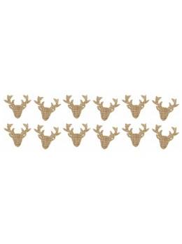 Sachet 12 têtes de renne jute 3cm