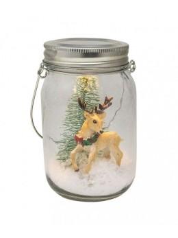 Jar en verre Noël avec Led 13cm