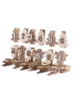 24 pinces en bois paillettes pour calendrier de l'avent