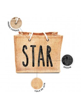 Sac jute sequin Star