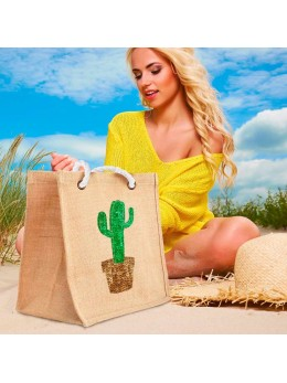 Sac jute sequin cactus