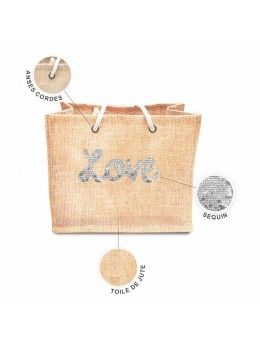 Sac jute sequin Love blanc