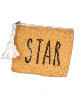 Pochette jute sequin Star