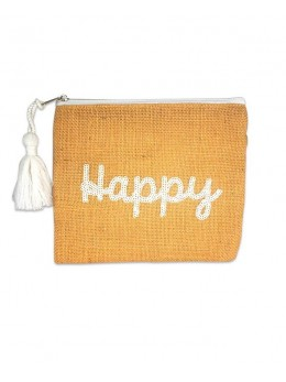 Pochette jute sequin Happy