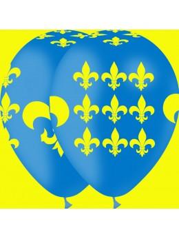 100 ballons médiéval fleur de lys bleu et jaune