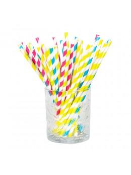 20 Pailles papier rayées multicolores