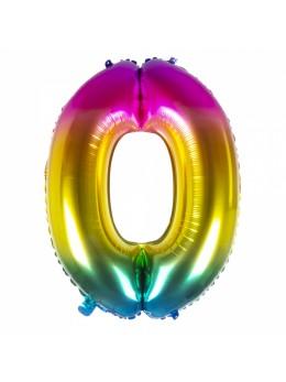 Ballon chiffre 0 arc en ciel